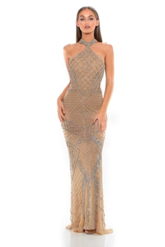 PS1954 SILVER NUDE COUTURE DRESS