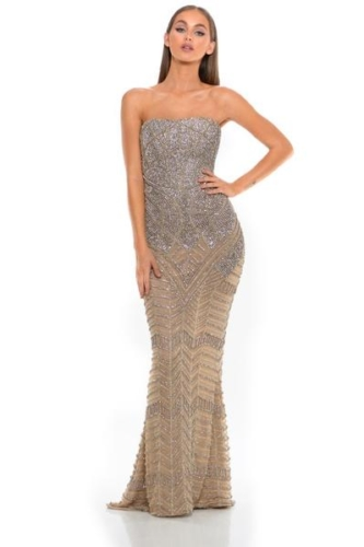 PS3001 SILVER NUDE COUTURE DRESS