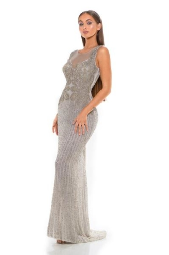 PS1993 SILVER WHITE COUTURE DRESS